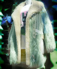 Coach Mint FLUFF oversized shaggy faux fur pastel green coat.