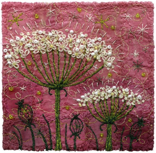 textile art,  beautiful embroidery by Kristen Chursinoff