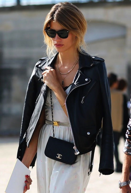black Chanel cross body bag, black motorcyle leather jacket, black raybans, street style