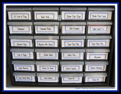 photo of: Organized Teaching Supplies: LABELED! (Rockin' Teaching Materials via RainbowsWithinReach)