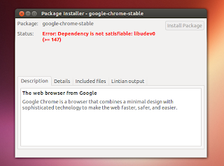 Fix: Google Chrome Can`t Be Installed In Ubuntu 13.04 Raring Ringtail Due To Missing libudev0 Dependency