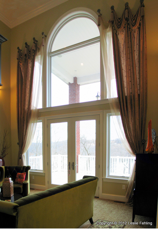 Two story window treatment revealed gcm Great room curtain ideas