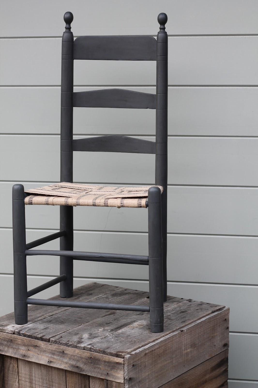 The Seat On This Solid Wood, Well Made Ladder Back Chair Had A Tattered  Rush Seat When We Found It. We Removed The Rush, Painted The Chair Black,  Used A ...
