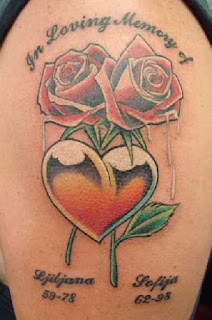 flower heart tattoos