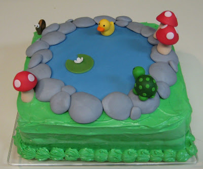 Pond Cake with Animals and Mushrooms - Side View
