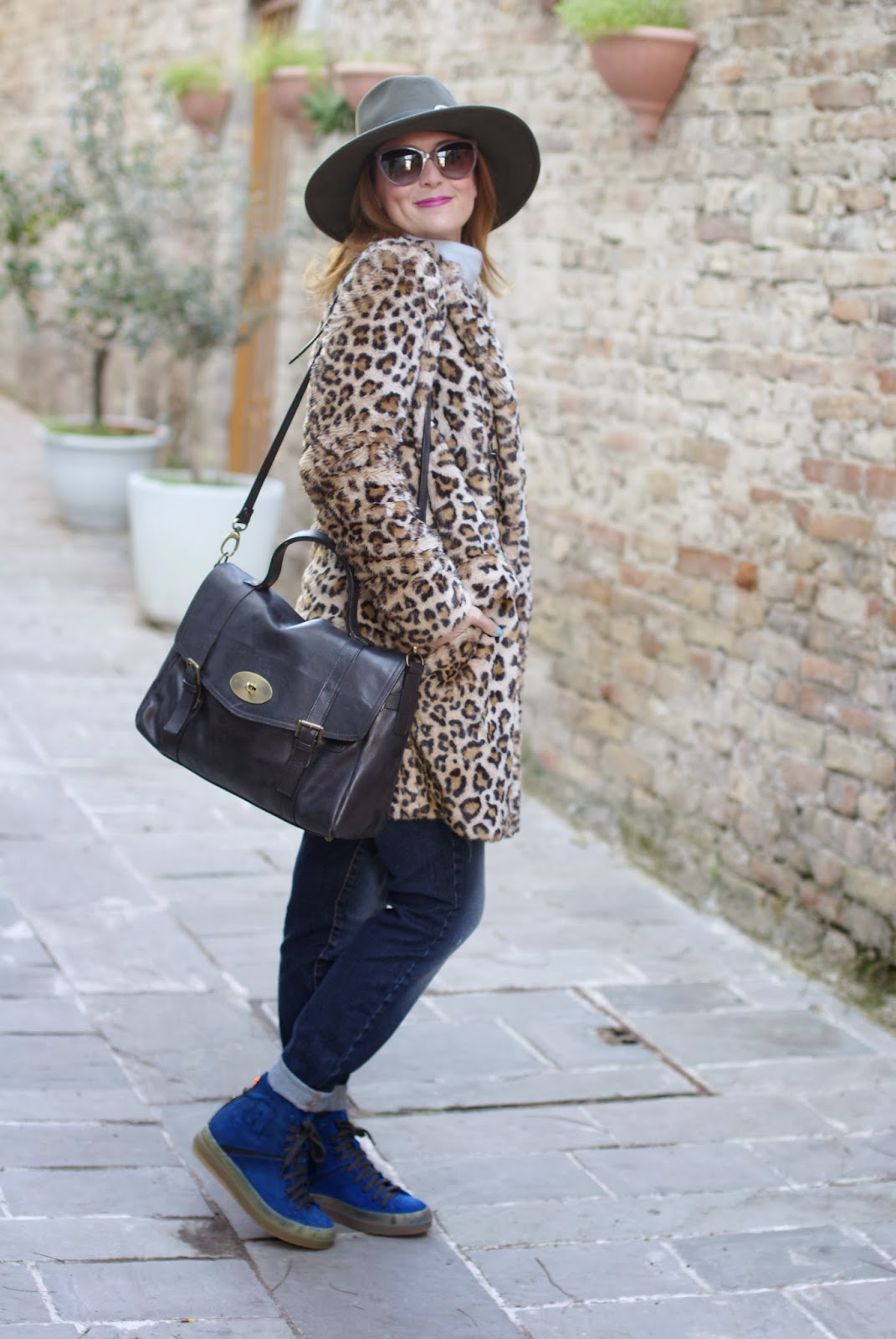 leopard faux fur coat, cobalt blue sneakers, Ecua-Andino australian hat, satchel bag, Fashion and Cookies, fashion blogger