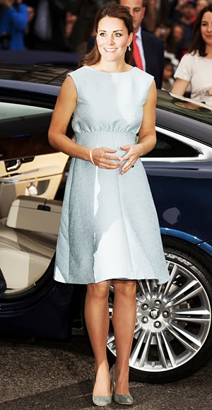 Catherine Middleton wears a charming pale blue Emilia Wickstead dress, April 2013