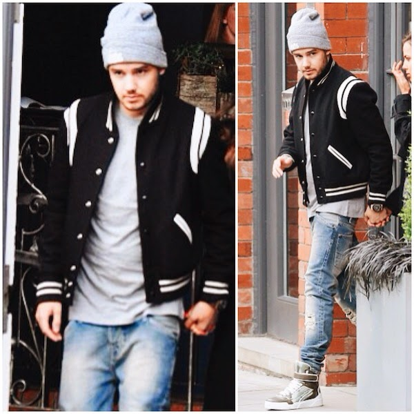 One Direction Liam Payne Saint Laurent varsity jacket and Givenchy 'Tyson' camouflage sneakers Manchester May 2014