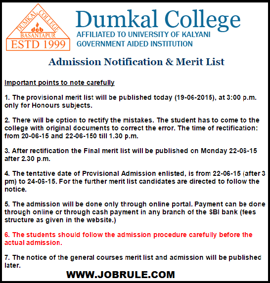 Dumkal Basantapur College Admission 2015 Merit List ,Counselling Date Sheet