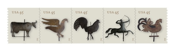 usps, weather vane stamps,