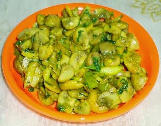 Mushroom garlic stir fry in a serving plate