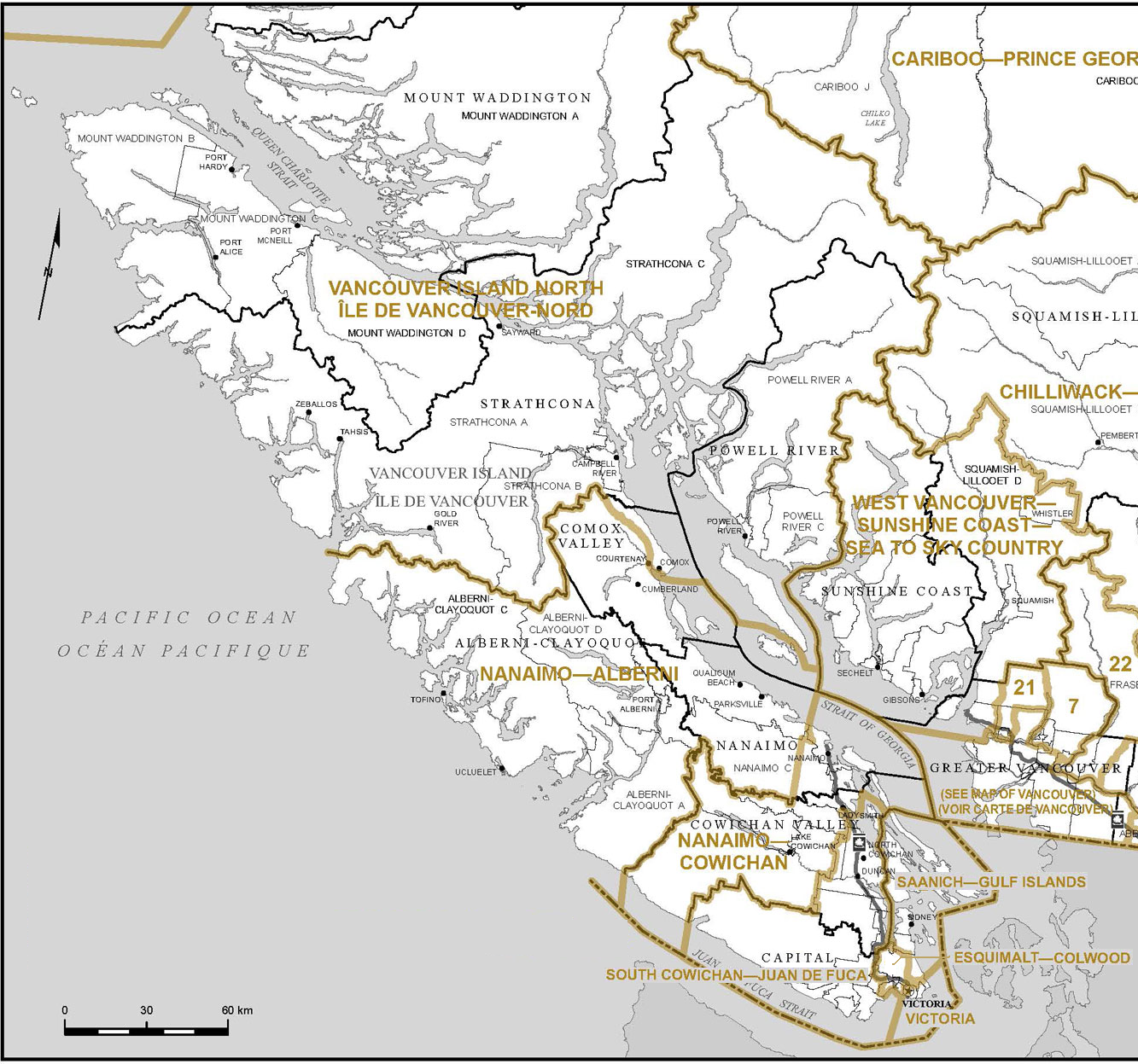 Vancouver Island Federal Ridings Map