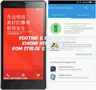 Root dan Install TWRP Xiaomi Redmi Note 3G ROM MIUI 7