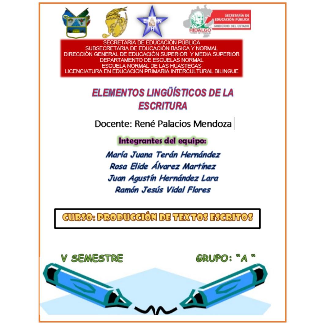 PORTAFOLIOPRODUCCIÓNDETEXTOSESCRITOS: ELEMENTOS LINGUISTICOS DE LA ...