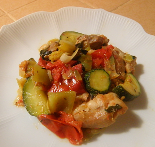 Chicken with Pepper, Zucchini, and Tomatoes Plated