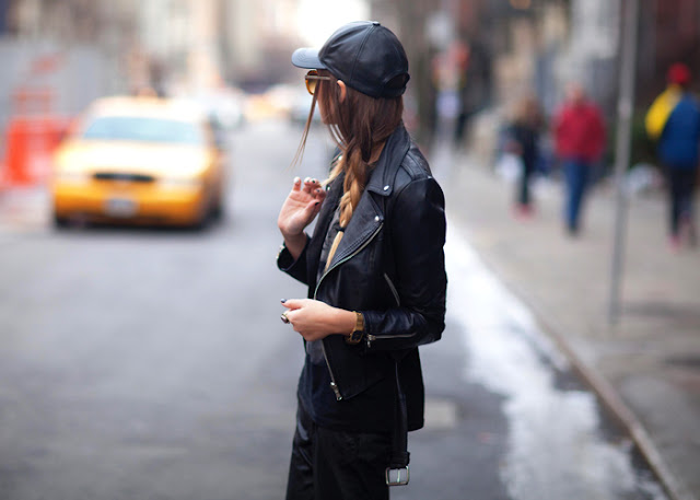 We Wore What Faux Leather Baseball Cap Hat Street Style