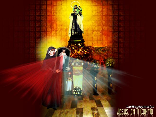virgen del carmen y santa faustina