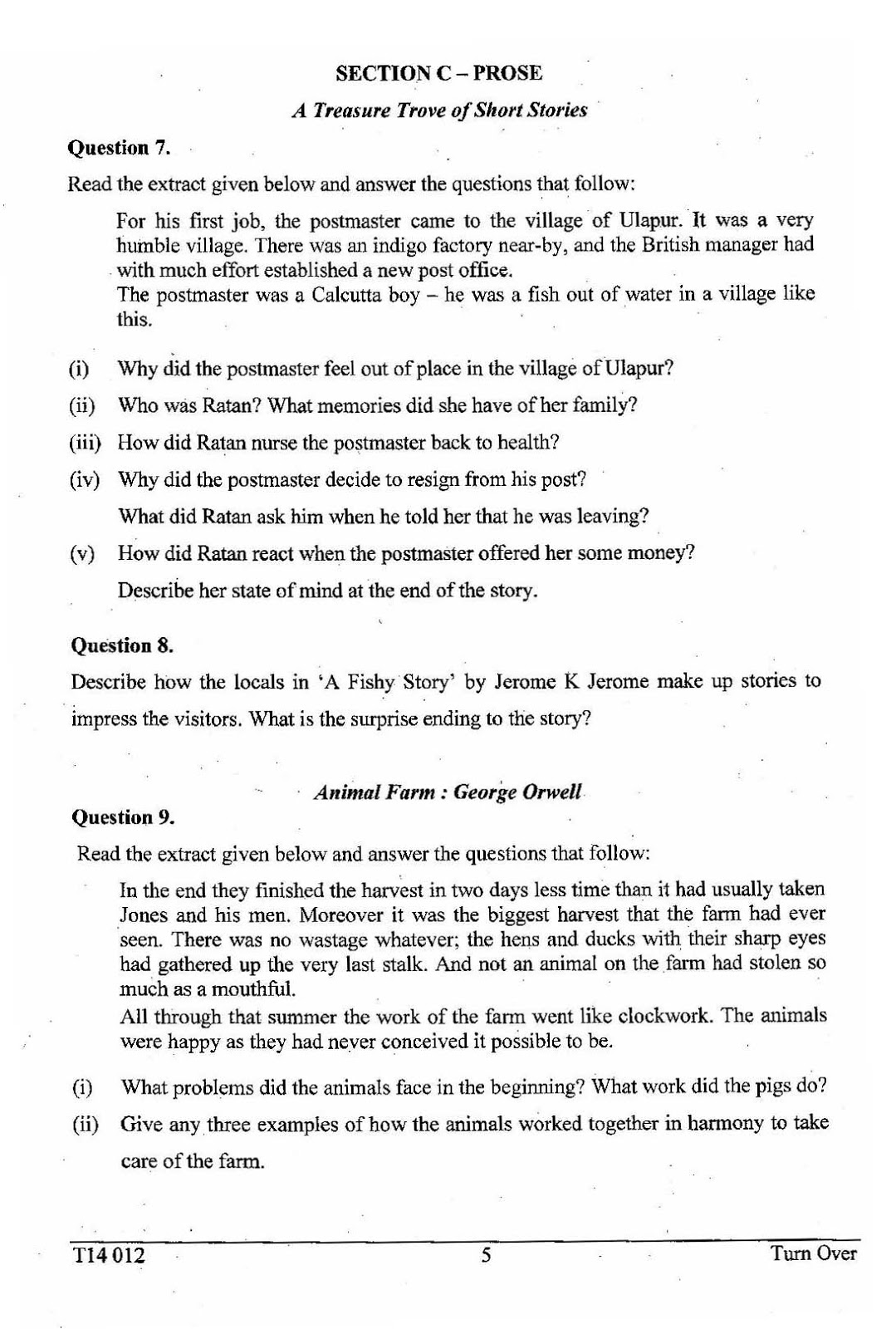 Icse class 10th English literature solved question paper 2014