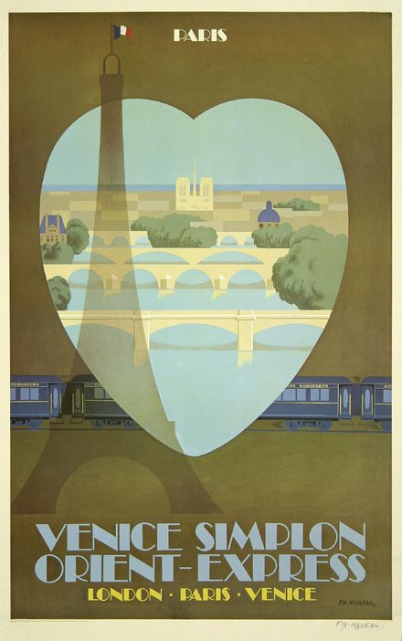 free printable, printable, classic posters, free download, graphic design, retro prints, travel, travel posters, vintage, vintage posters, Venice, London, Paris - Venice Simplon, Orient Express - Vintage Train Travel Poster