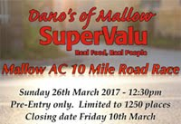 Mallow 10 mile road race...Sun 26th March 2017...Entries now closed