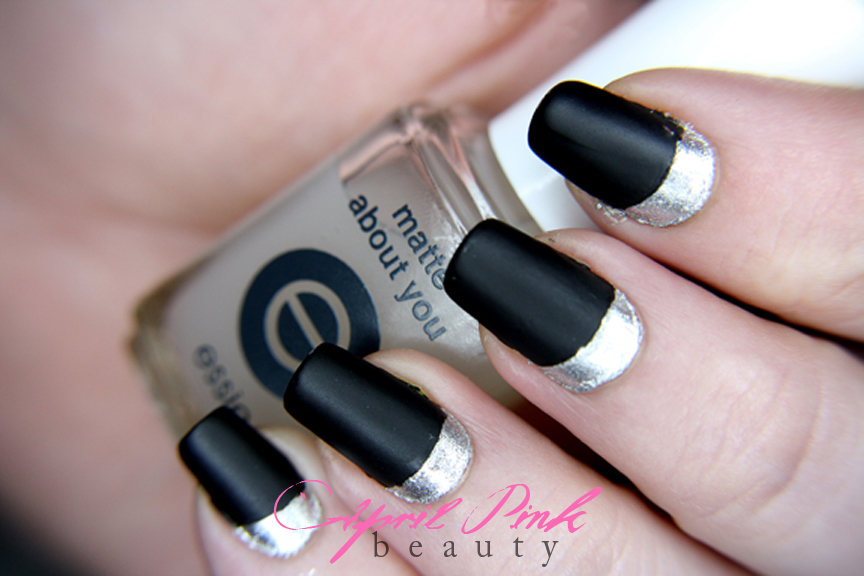 April Pink Beauty: Silver & Matte Black Ruffian Nails