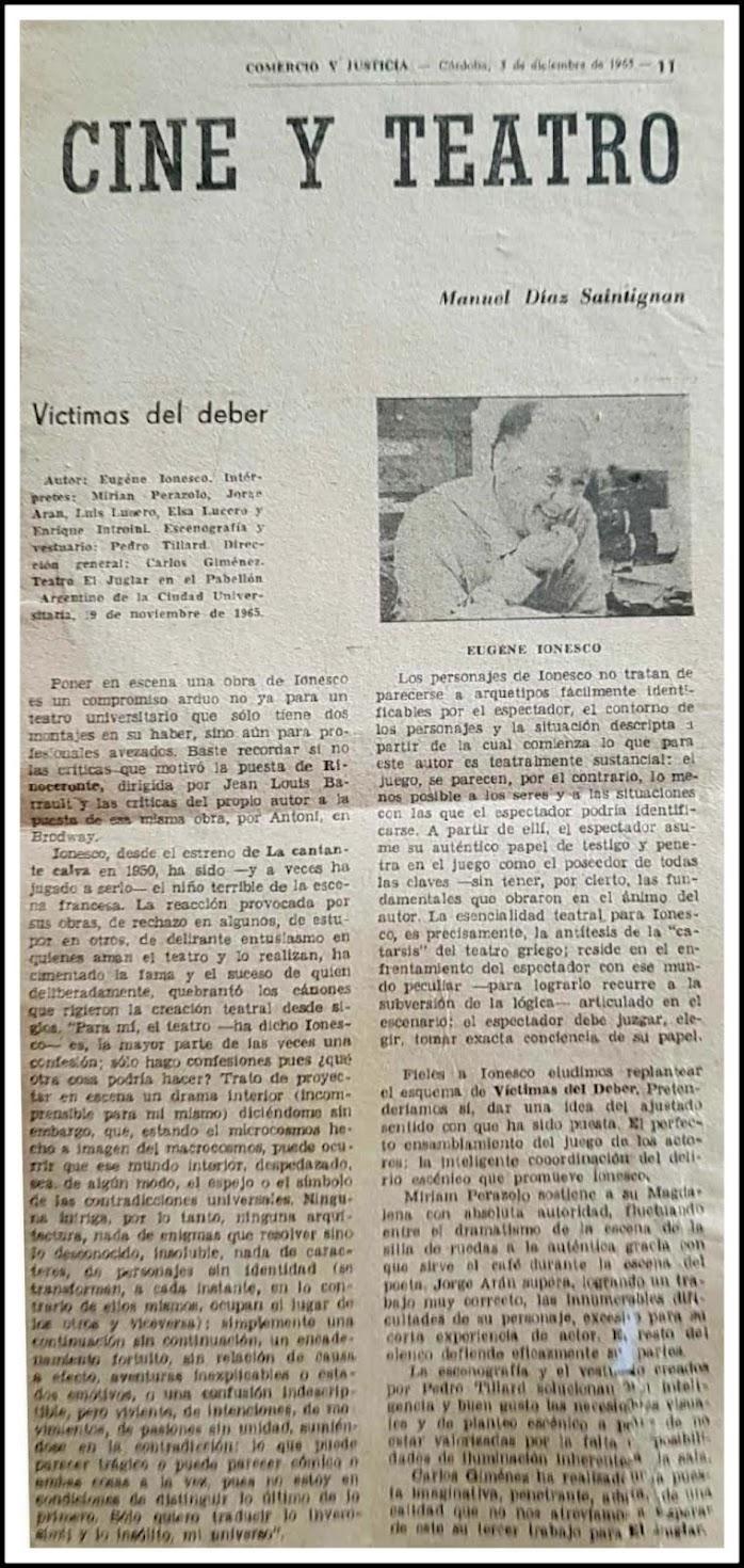 VÍCTIMAS DEL DEBER, de Ionesco. Dirección.  Córdoba, 1965