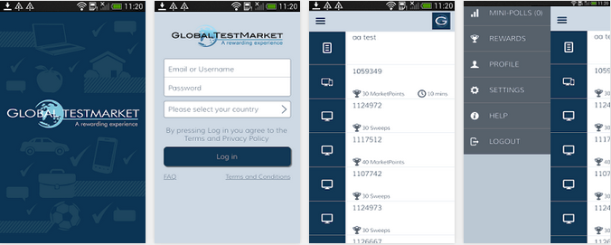 Global test market android smart phone app