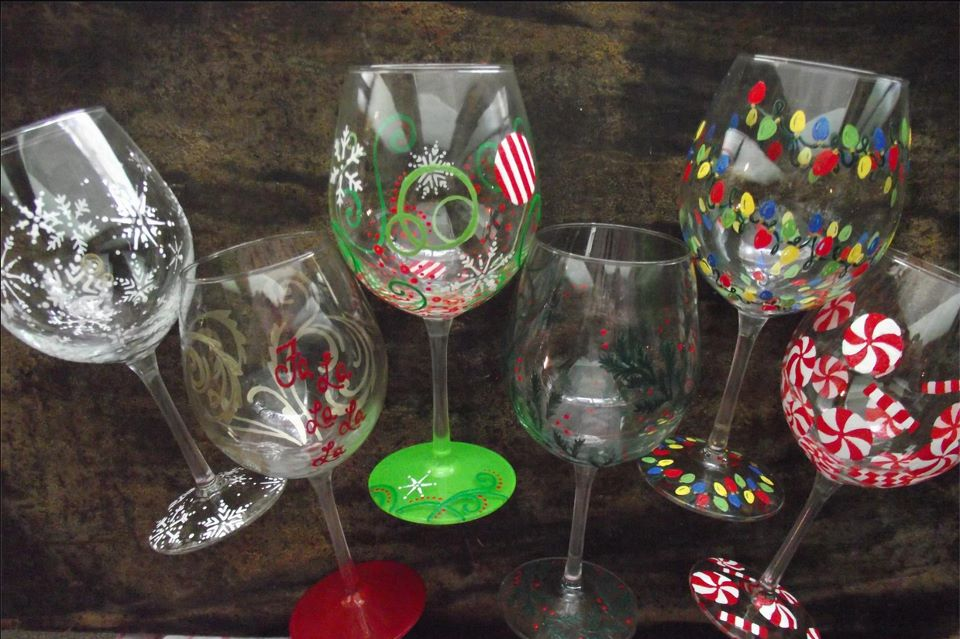 Rose rambling hand painted holiday wine glasses for Christmas glass painting