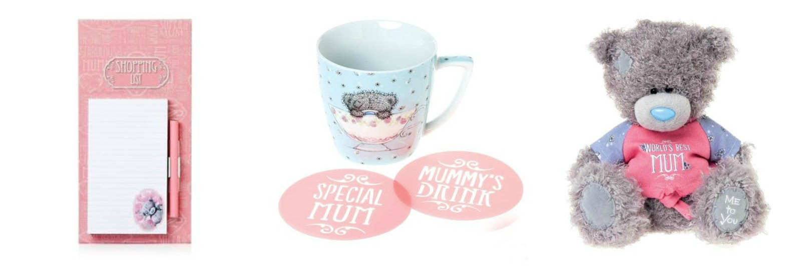 Tatty Teddy Mother's Day Gifts - Bear, Mug and Stencil Set and Shopping List Pad