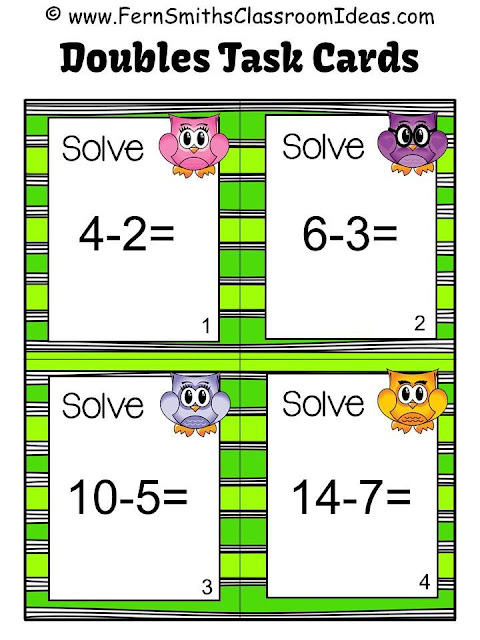 Fern Smith's Classroom Ideas Subtraction Task Cards, Recording Sheet and Board Game - Owl Themed for Doubles, Doubles Plus One, Plus One, Plus Two and Plus Zero at TeacherspayTeachers.