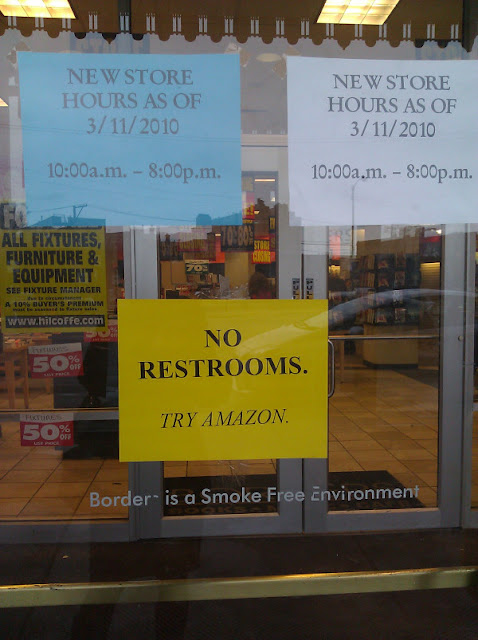 Borders no restrooms sign, Amazon