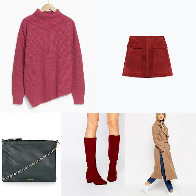 Pink jumper with red skirt and boots. Simple taupe/camel coat on top and chain bag.