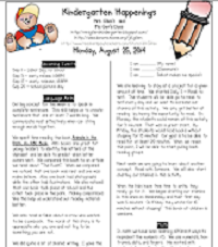 Kindergarten Happenings Week 1