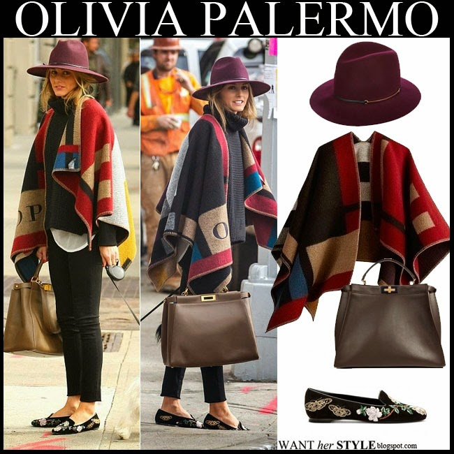Olivia Palermo in Burberry blanket poncho with purple fedora by Janessa Leone walking her dog winter street style inspiration october 2014 want her style