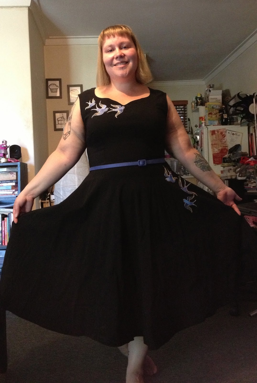 Black dress saying - The Dress Is From Pinup Girl Clothing And I M Not Wearing Shoes I M Classy Like That