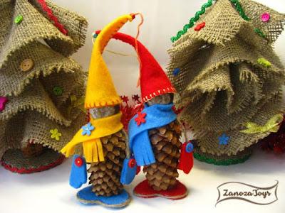 Новогодние гномы из шишек своими руками