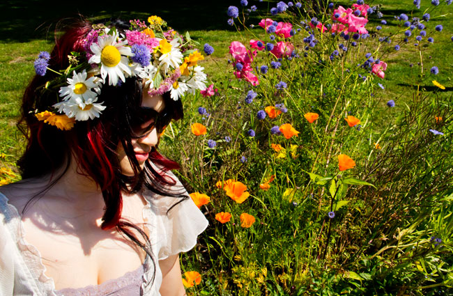 Floral crown, chiffon top, lace bando, galaxy hi-lo skirt, romwe galaxy skirt, squamish, summer style, fashion, outfit, hippie style, scenery, outdoors, street style, Missoni sunglasses