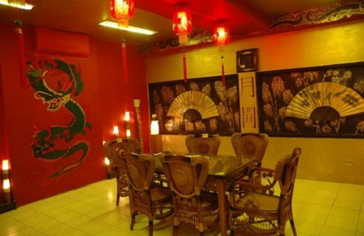 Asian Home Design with Unique Dining Room Lighting