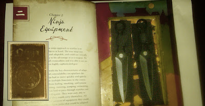 A book concealing two throwing knives.