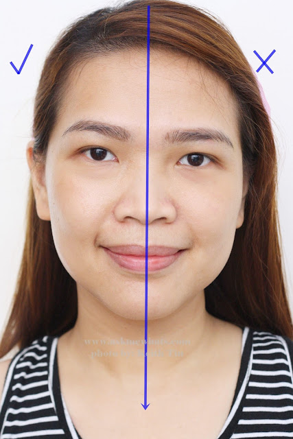 Before and after usage of Shiseido Glow Enhancing Primer SPF15