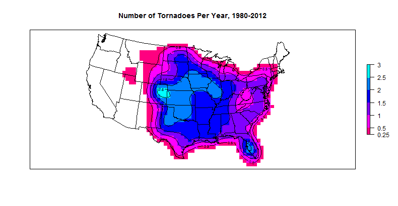 The Tornado Project: Annual Tornado Frequency by Location