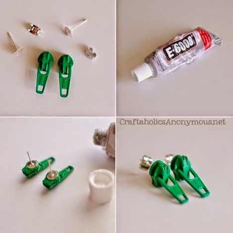 Como Hacer Aretes y Botones con Cierres Reciclados