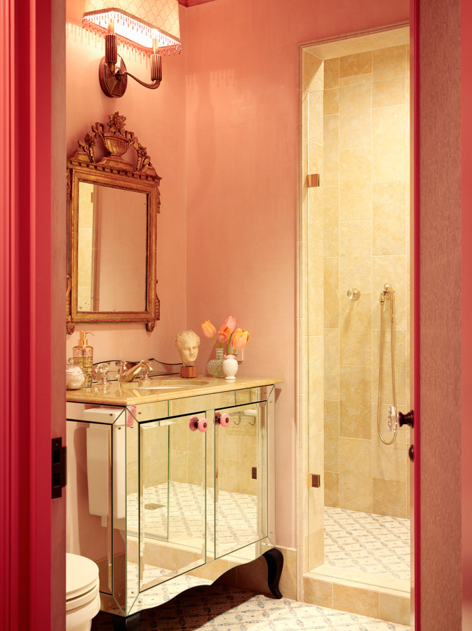 Mix and chic cool designer alert jay jeffers for Peach bathroom accessories