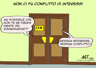 banca etruria, conflitto di interesse, boschi, autority, vignetta satira