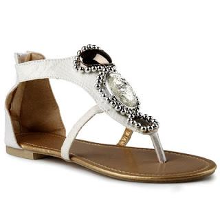 Sandal Flats Sidewalk Big Diamonds Gladiator Warna Putih