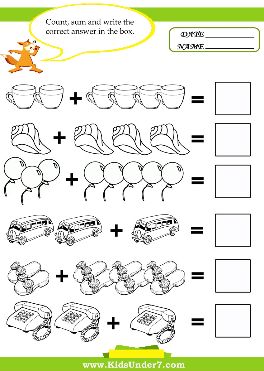 math worksheet : kids under 7 kids math worksheets : Worksheets For Kids Math