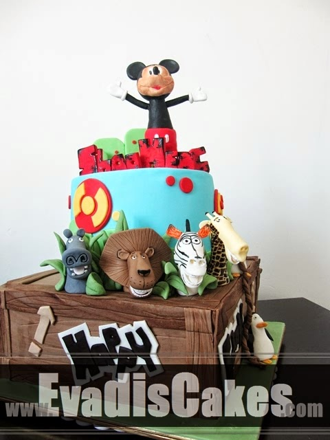 Full view of Mickey and Madagascar Theme Cake