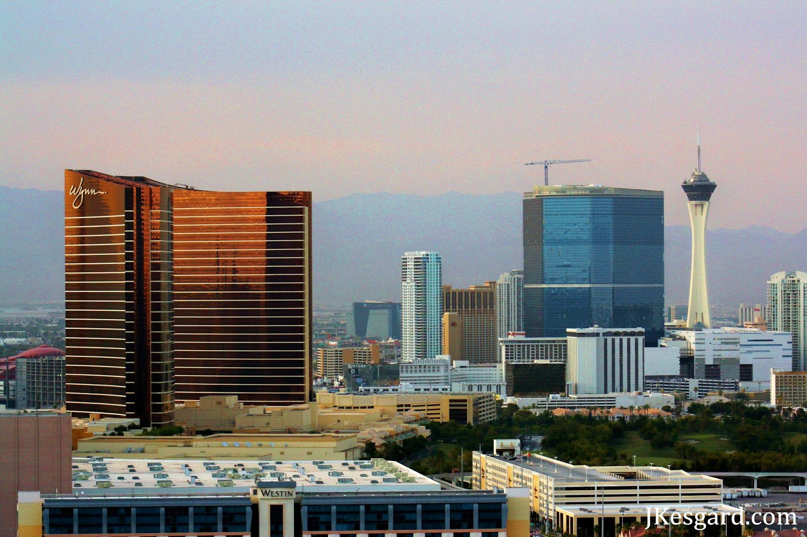 Smoky twilight view of North Las Vegas Strip July 2013