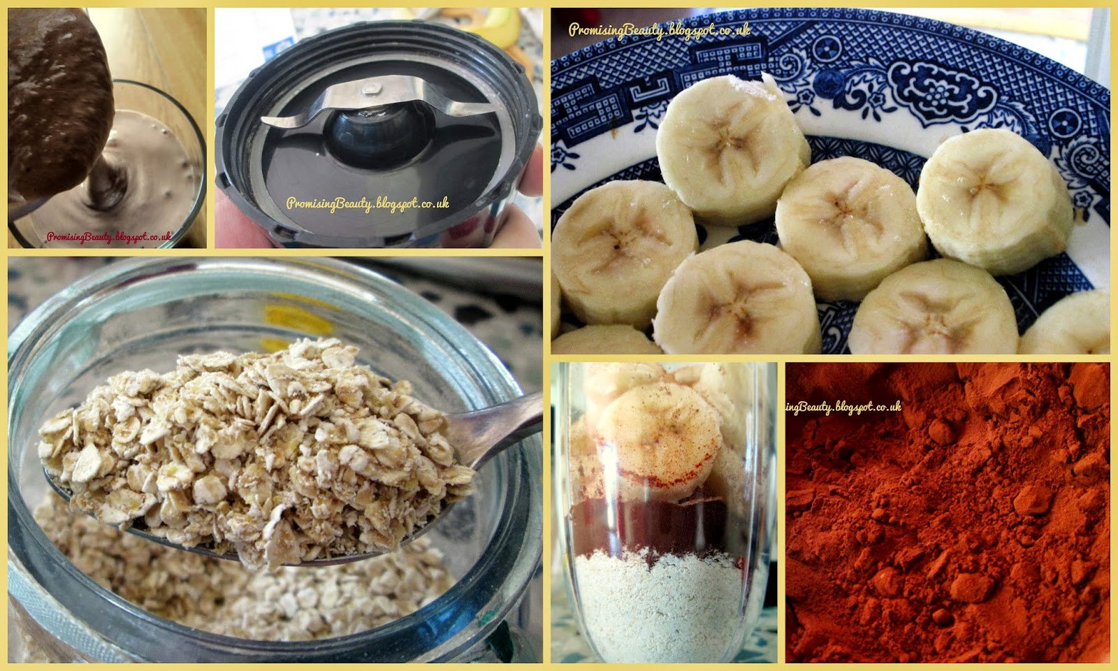 Ingredients for breakfast healthy smoothie milkshake. Frozen banana with cayenne pepper, cocoa powder and oats. A milling blades for the oats in a bullet blender. Delicious healthy milkshake chocolate banana flavour.