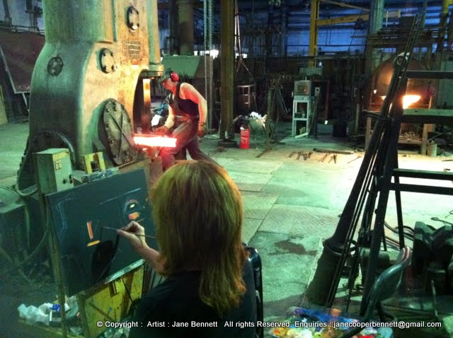 Jane Bennett, industrial heritage artist painting the blacksmiths of 'Wrought Artworks' Australian Technology Park Eveleigh Railway Workshops